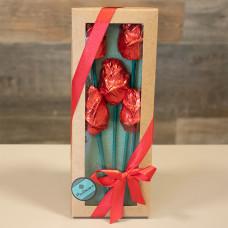 Caixa com 5 Rosas de Chocolate da Bellíssimo ChocoArte