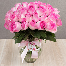 Vaso Luxo de 40 Rosas Cor de Rosa