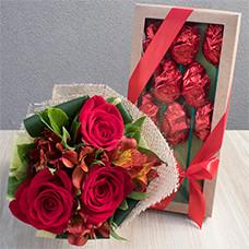 Mimo Vermelho com Rosas de Chocolate