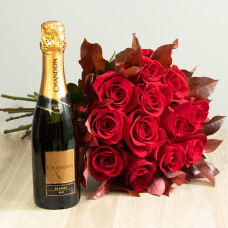Kit 12 Rosas Importadas Vermelhas e Chandon