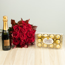 Kit 12 Rosas Importadas Vermelhas com Ferrero Rocher e Chandon