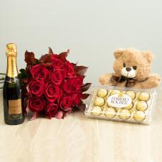 Kit 12 Rosas Importadas Vermelhas com Ferrero Rocher, Chandon e Pelúcia