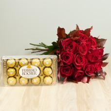 Kit 12 Rosas Importadas Vermelhas e Ferrero Rocher