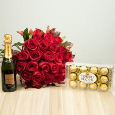Kit 24 Rosas Importadas Vermelhas com Ferrero Rocher e Chandon