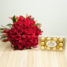 Kit 24 Rosas Importadas Vermelhas e Ferrero Rocher