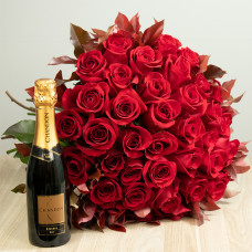 Kit 36 Rosas Importadas Vermelhas e Chandon