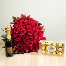 Kit 36 Rosas Importadas Vermelhas com Ferrero Rocher e Chandon