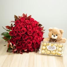 Kit 36 Rosas Importadas Vermelhas com Ferrero Rocher e Pelúcia