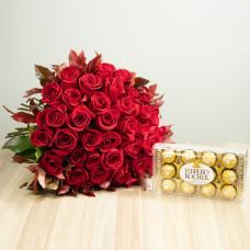 Kit 36 Rosas Importadas Vermelhas e Ferrero Rocher